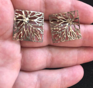 Vintage-Sterling-Silver-925-Textured-Filigree-Square-Pierced-Earrings
