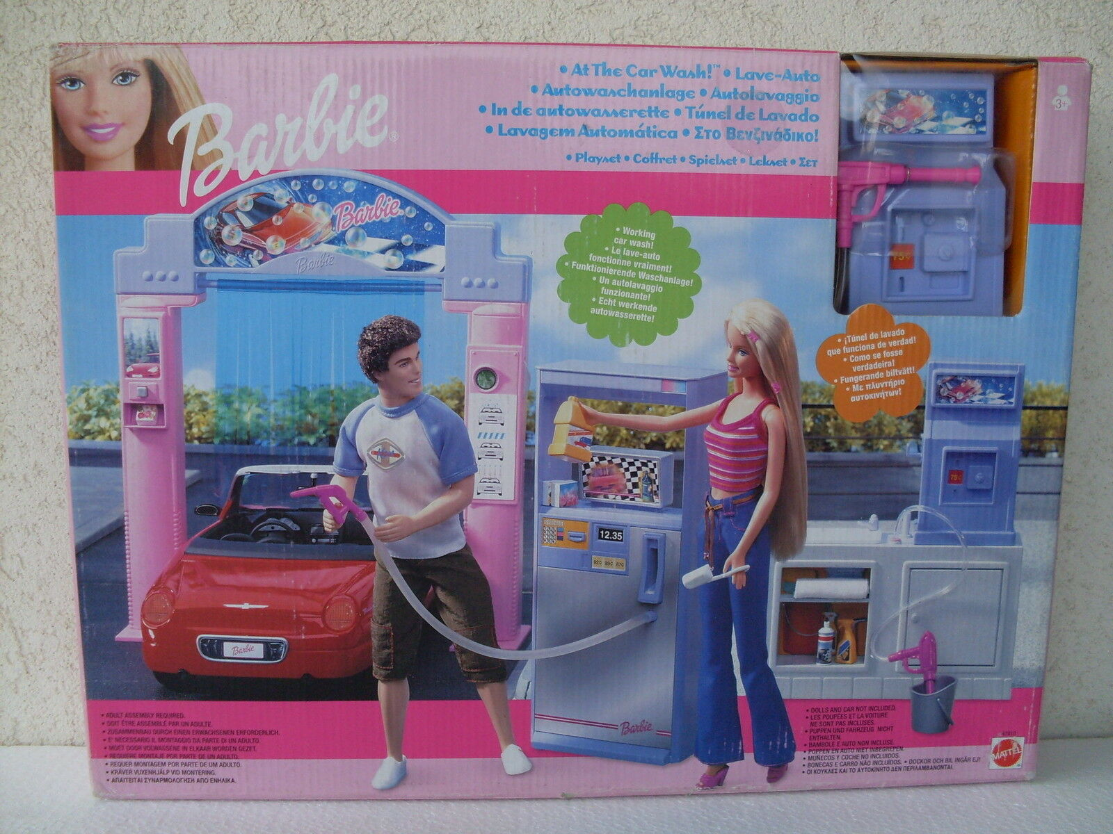 Barbie car wash autolavaggio lave autowaschanlage playset doll 2002 NRFB 47810