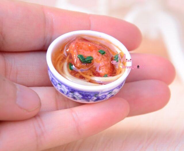 Chicken noodle Bowl Food 1/6 scale Barbie Blythe DOLL Dollhouse Miniature