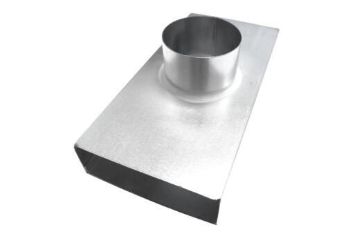 Anschluss für Tellerventil b=140mm D100mm Durchgang Flachkanal