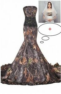 bcc783072e0 Image is loading 2018-Mermaid-Camo-Wedding-Dresses-Formal-Camouflage- Appliques-