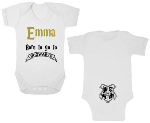 Harry Potter BORN TO GO TO HOGWARTS Bodysuit//Grow//Vest Newborn Gift PERSONALISED