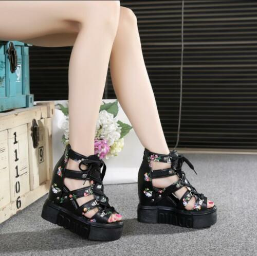 Womens Hollow Out High Open Toe Platform Wedge Heel Lace up Roman Sandals Shoes