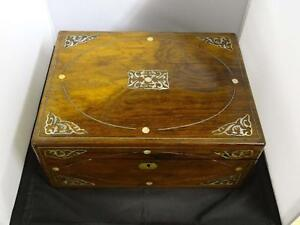 Antique-Victorian-Rosewood-Writing-Box-Mother-Of-Pearl-Foliate-Spandrels-1840
