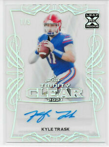 """2021 LEAF TRINITY CLEAR SILVER KYLE TRASK ROOKIE AUTO SIGNATURE 1/5 """"BUCCANEERS"""""""