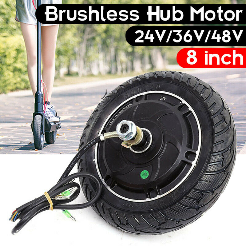 Electric Scooter Hub Wheel Motor 24 36 48V DC Brushless Toothless 8  Wheel 350W