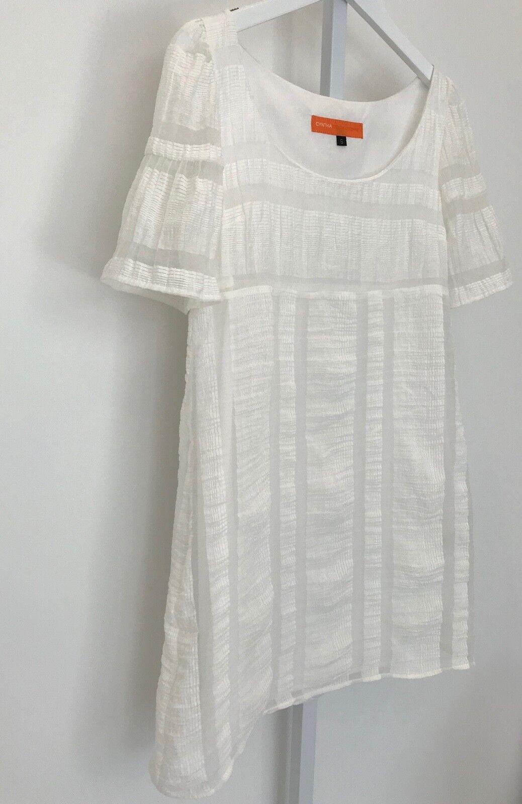 CYNTHIA CYNTHIA STEFFE WHITE LINEN NYLON VISCOSE SHIFT DRESS 83389121 SIZE SMALL