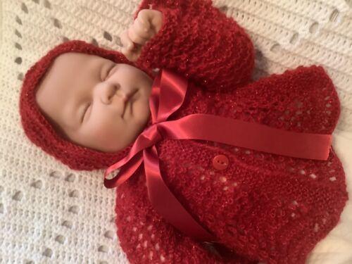 Christmas Reborn Doll or Newborn Luxury Ruby Red Mohair Blend Baby Coat /& Bonnet