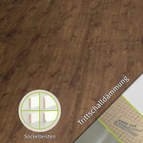 Vinylboden PVC Klick Bodenbelag Eiche Ambiente handgehobelt Dämmung Leiste