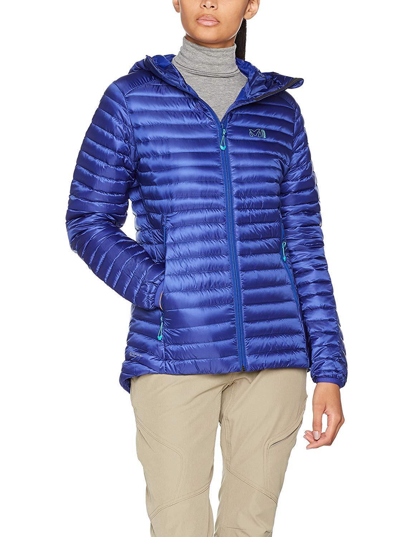 Millet LD elevación del talón de la mujer chaqueta de plumón con capucha Tamaño 12 BNWT Púrpura Azul