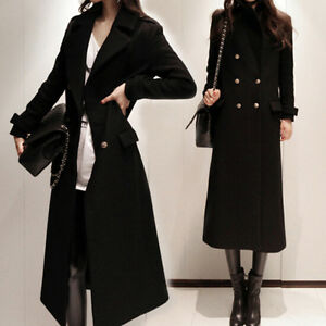 New-Womens-Double-Breasted-Lapel-Slim-Wool-Blend-Parka-Long-Trench-Coat-Jackets