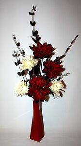 Image Is Loading Artificial Flowers Silk Flower Arrangement In Red Black