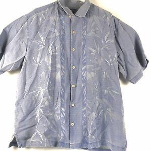 Tommy-Bahama-Silk-Button-Hawaiian-Camp-Shirt-Floral-Textured-Men-039-s-XL-Blue