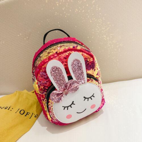 Paillettes Enfants filles paillettes oreilles de lapin mini sac à dos épaule Sac de Voyage Cartables