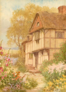 H-Carruthers-Signed-Mid-20th-Century-Watercolour-Summer-Cottage-Garden