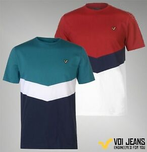 Mens-VOI-Cotton-Short-Sleeves-Crew-Top-Front-Panel-T-Shirt-Sizes-S-XXL