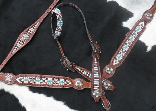 Showman Navajo Beaded Leather Bridle Roping Reins Breast Collar Wither Strap Set