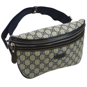 562115bea64 Auth GUCCI GG Pattern Waist Bum Bag Navy Gray PVC Leather Vintage ...