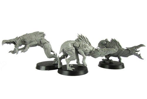 Kroot Hounds x 3 Resin Proxy Alternative Tau Miniatures Spined Hounds OOP