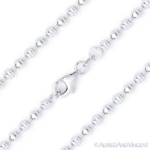 3mm-Ball-Bead-Link-Italian-Chain-Necklace-Italy-925-Sterling-Silver-w-Rhodium