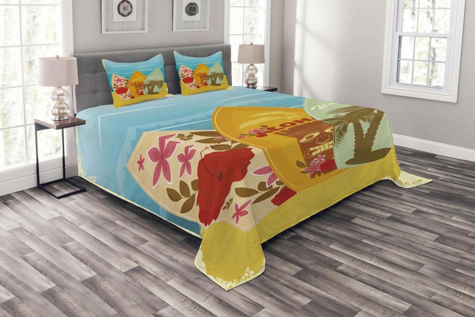 Tiki Tiki Tiki Bar Quilted Bedspread & Pillow Shams Set, Surfboard Exotic Print f9f0fd