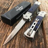 Blue Pearl Italian Milano Stiletto Tactical Spring Assisted Open Pocket Knife