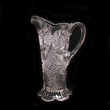 Antique EAPG Glass Pitcher w/ Hartman Advertising - Sunburst Pattern by McKee