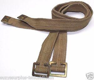 1943-Bata-p37-British-tan-canvas-web-pack-n-utility-straps-29-x-1-lot-of-2-E866