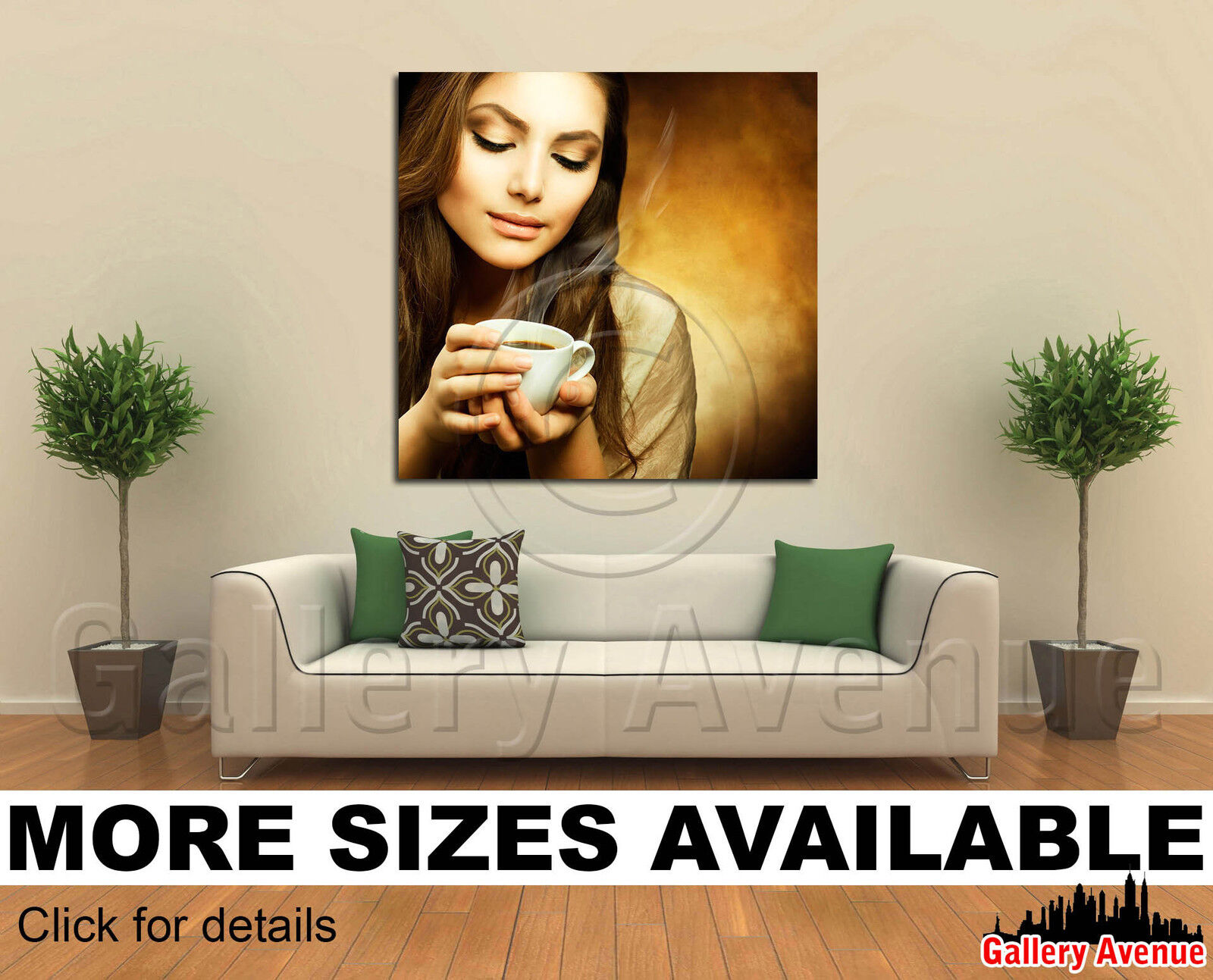 Wall Art Canvas Picture Print - Beautiful Woman with cup of Coffee 1.1