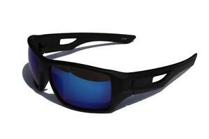 0219fe7e71 La imagen se está cargando Negro-Mate-Marco-Azul-Hielo-Lente-Espejo-Gafas-