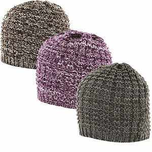 Highlander Womens Beanie Hat Purple Marl Winter Headwear Season Outdoor Warm