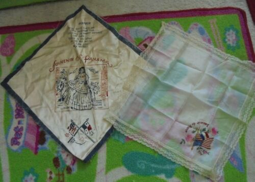 Pair Set of 2 vintage Souvenir of France and Panama estate hanky handkerchief
