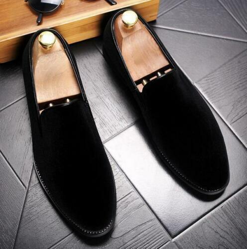 Fashion Men British Pointed Toe Velvet Loafers Dress Formal Slip On Shoe Formal@