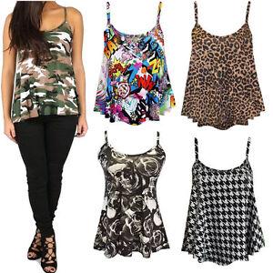 Mujer-senoras-Leopardo-de-impresion-de-Tartan-Cami-Con-Tiras-Mangas-Camiseta-Chaleco-Top-Uk-8-26