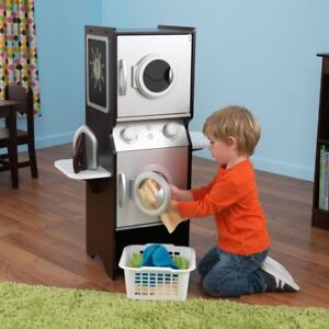 Details About Brown Laundry Washer Dryer Set Home Children Pretend Play Kids Toys Ironing