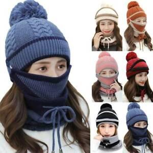 3 in 1 Winter Women Beanie Scarf Set Padded Outdoor Warm Knit Windproof