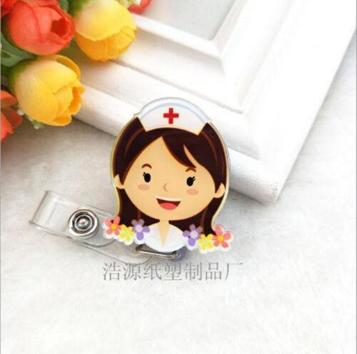 Fashion Cartoon Easy Work Nurse Card Badge Clip File Retractable Buckle Badge