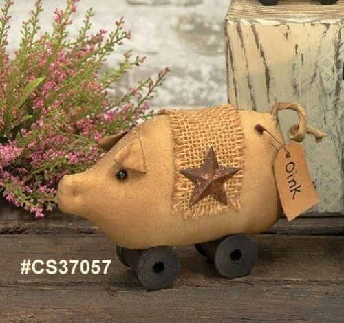 NEW!!! Primitive Country Fabric SPOOL PIG On Wood Spool Wheels With Rusty Star