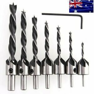 AU 7pcs HSS 5 Flute Countersink Drills Bit Reamer Set Woodworking Chamfer 3-10mm
