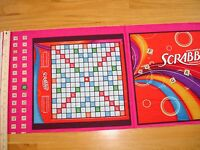 Hasbro Scrabble Board Game Tiles Letters Cotton Quilt Fabric Panel Blocks (2)