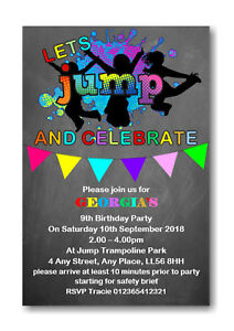 20 Personalised Trampoline Birthday Party Invitations Invites Boy