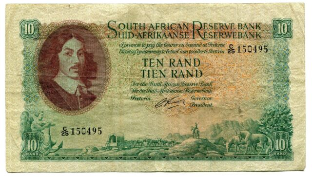 South Africa Rissik 1962 Series R10 VF Banknote