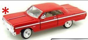 Chevrolet-Impala-1964-RED-Classic-Metal-Model-Car-Motormax-1-24