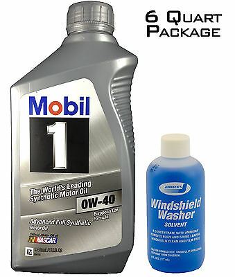 Mobil 1 96989 Synthetic 0W-40 Motor Oil - 1 Quart (Case of 6) + FREE Window Wash