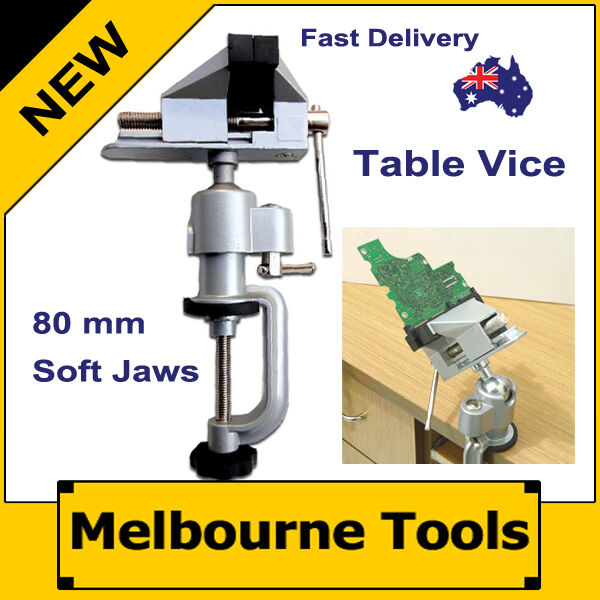Aluminium Alloy 3D Joint Swivel Table Vice, 80mm Soft Jaw + Bench Clamp Base