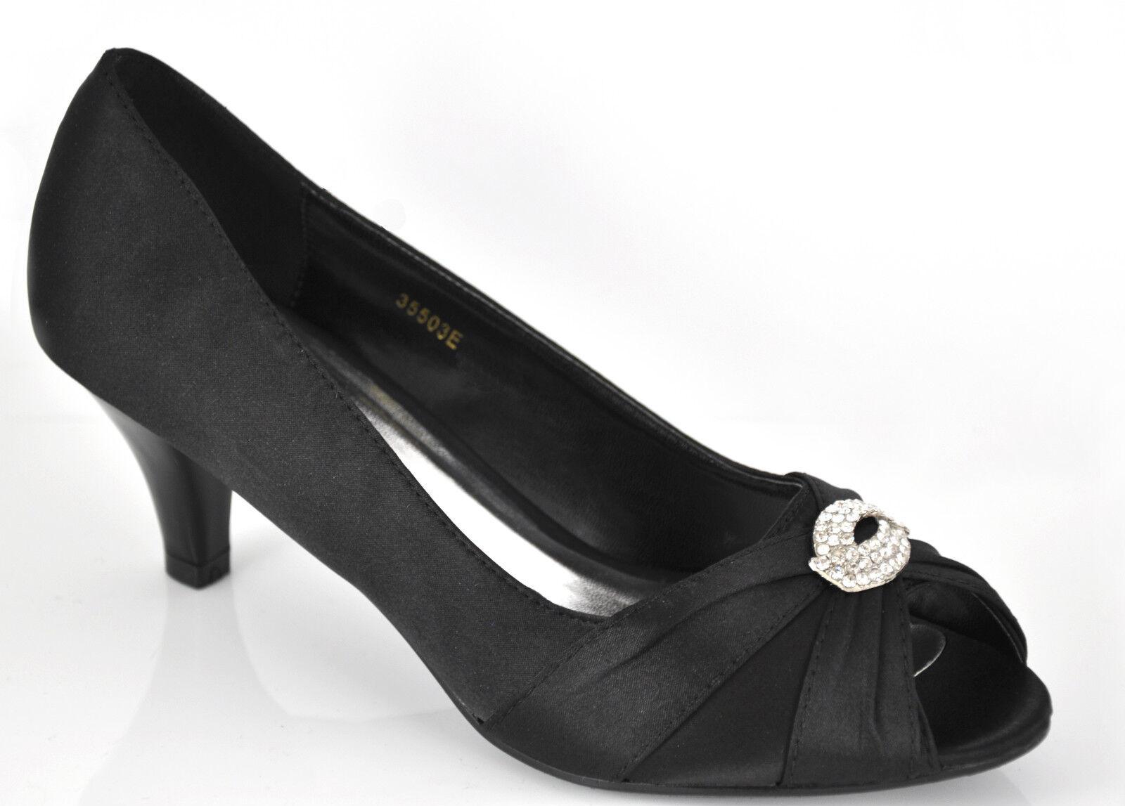 Satin Black Diamante Mid Heel Wedding Bridal Prom Shoes UK 3 4 5 6 7 7.5