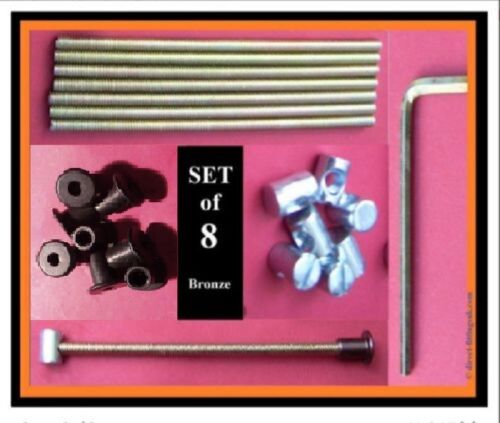 Set 8 Bed bolt bolt connectors//replacements.125mm.M6 rod//BLACK sleeve//15mm nut.
