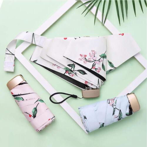 Anti UV Umbrella Waterproof Sunny Mini Five Folding Pocket Floral Aluminum