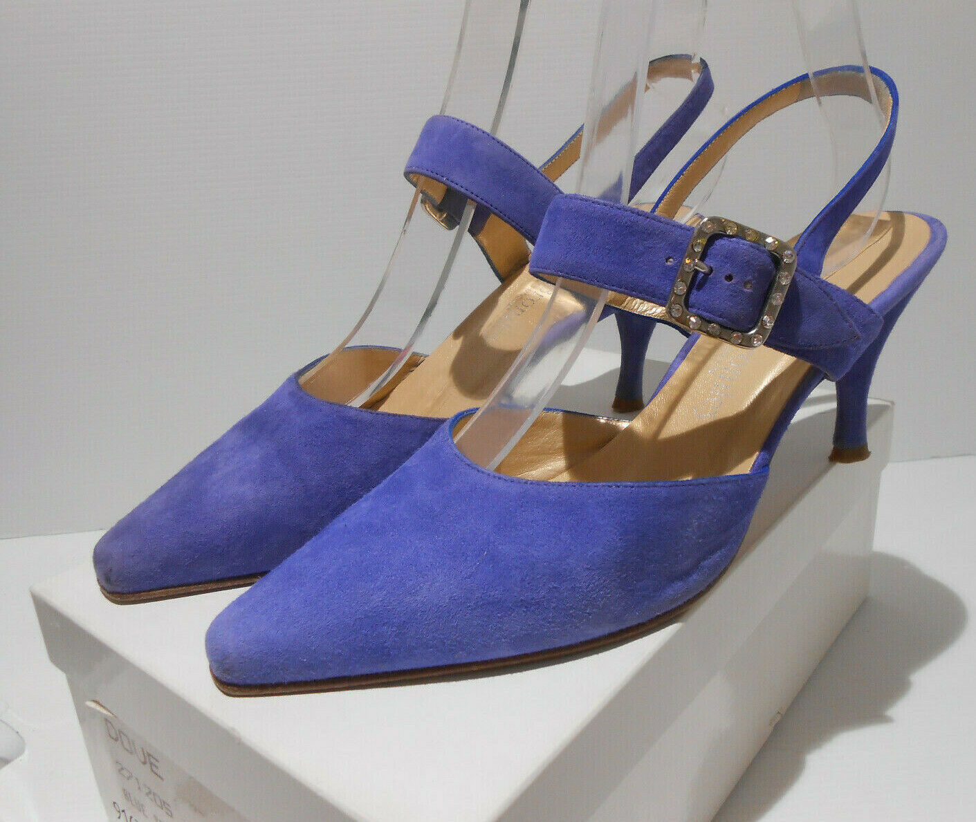 Russell & Bromley jewel buckle strappy blue suede sling back shoes 38.5 5.5 VGC