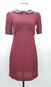 H&Amp;M Women's Dark Red Short Sleeve Dress Size 4 by H&Amp;M